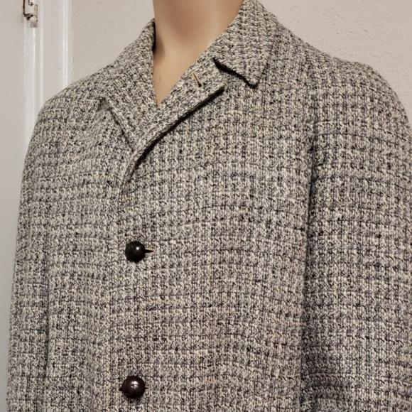 Rock-Knit Other - atomic fleck grey tweed men's 1950's over coat L